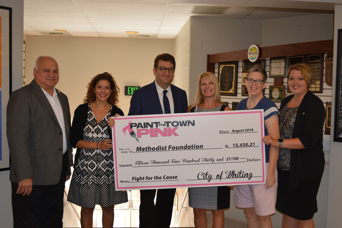 "City of Whiting's 2016 ""Paint the Town Pink"" Initiative Raises $15,460.21 for Methodist Foundation, Breast Health/Cancer Initiatives"
