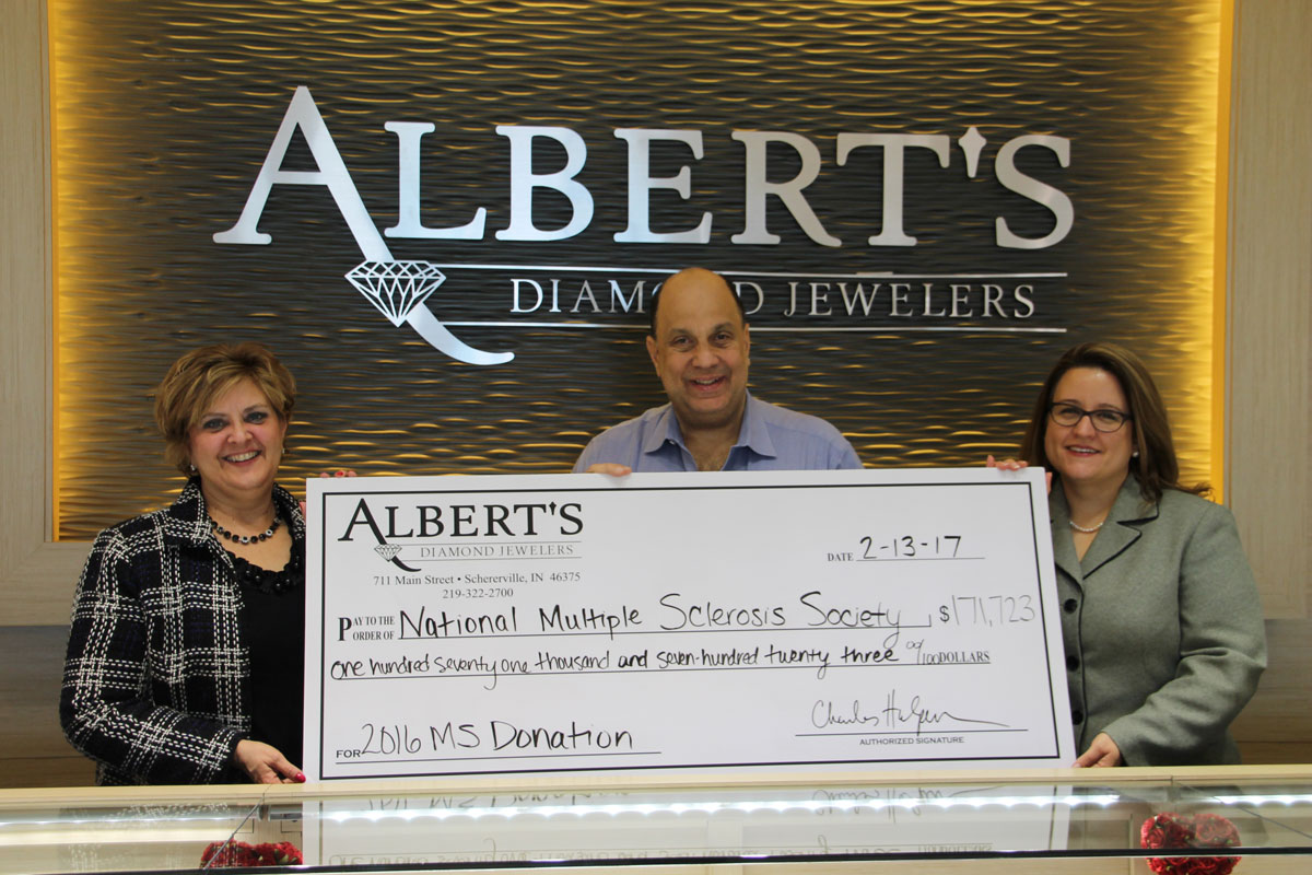 Albert's Diamond Jewelers Donates $171,000 to Indiana State Chapter of the National Multiple Sclerosis Society