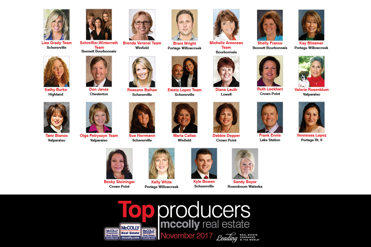 McColly Real Estate's Top 25 Producers of November 2017
