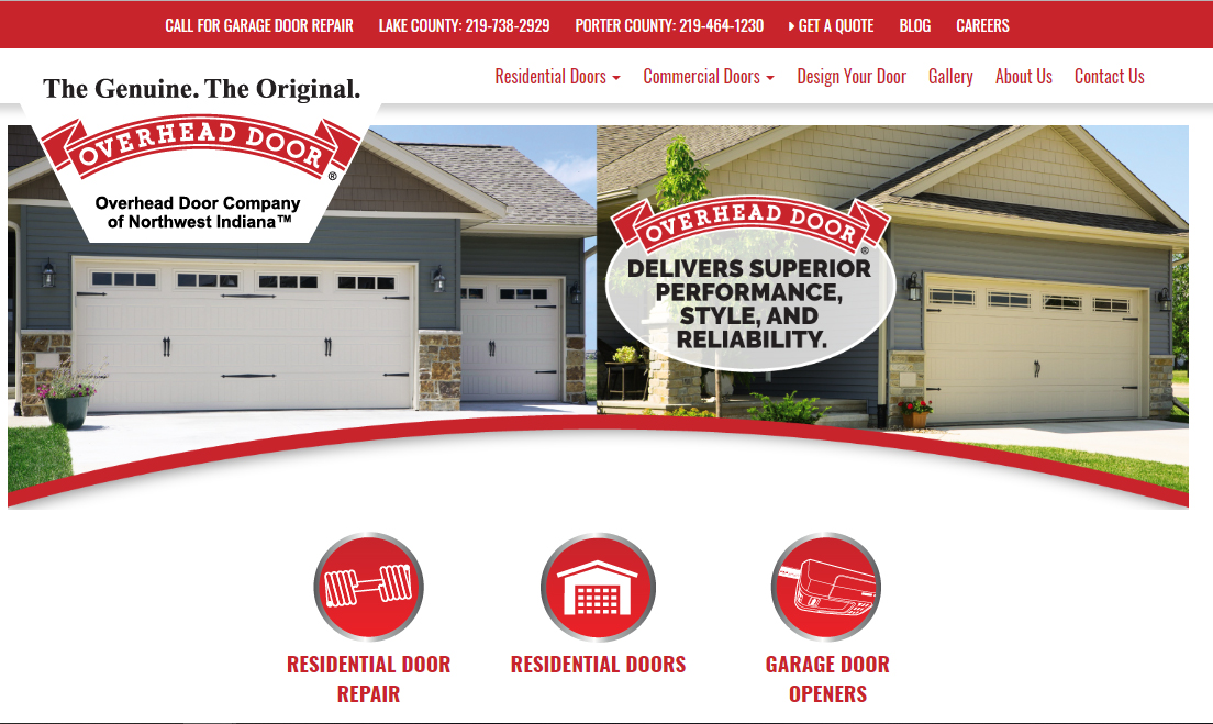 Overhead Door Company of Northwest Indiana Is Excited to Announce a New and Improved Website